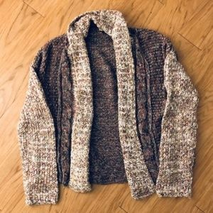 Multicolored Knit Wool Crop Cardigan Sweater
